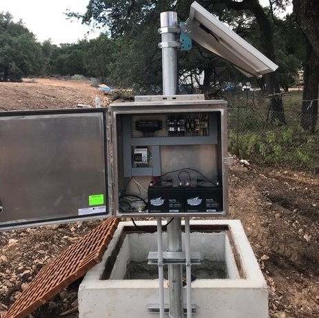 Retention Guard solar powered level control with open control panel in the field